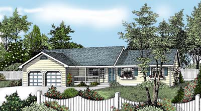 Country, Farmhouse, One-Story, Ranch House Plan 91833 with 3 Beds, 2 Baths, 2 Car Garage Elevation
