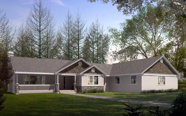 Ranch Traditional Elevation of Plan 91871