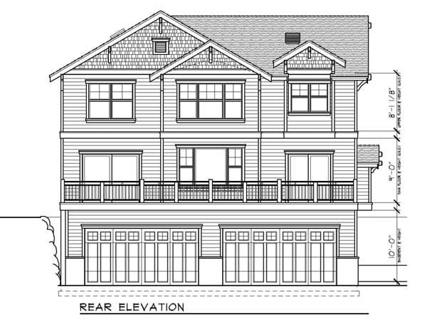 Bungalow Craftsman Rear Elevation of Plan 91885