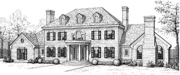 Colonial, French Country House Plan 92201 with 5 Beds, 4 Baths Elevation