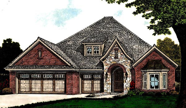 Country, European House Plan 92215 with 3 Beds, 3 Baths, 3 Car Garage Elevation
