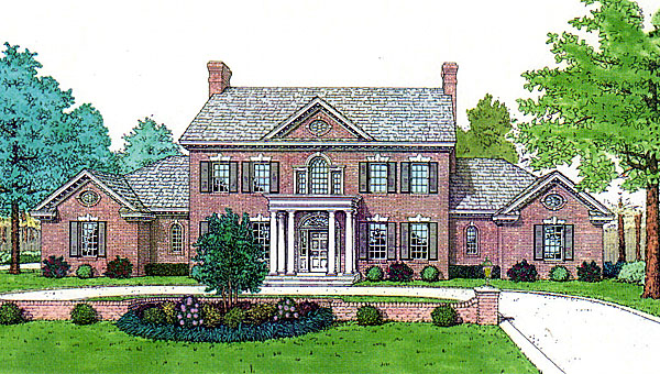 Colonial, French Country, Southern House Plan 92219 with 4 Beds, 4 Baths, 3 Car Garage Elevation