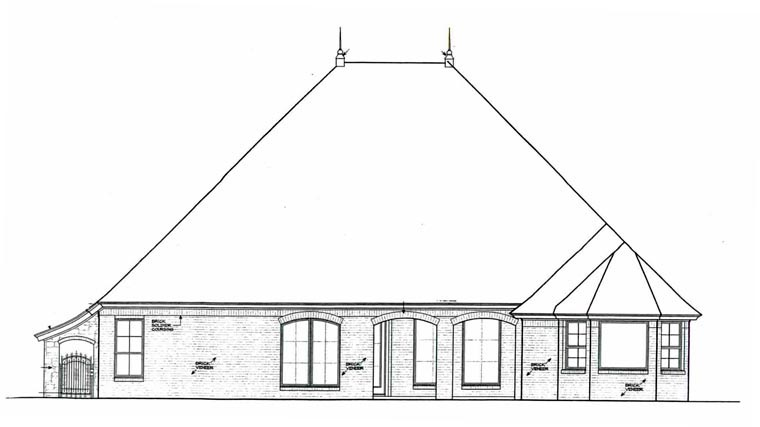 Rear Elevation of European   House Plan 92232