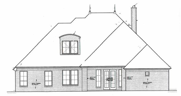 European House Plan 92234 Rear Elevation
