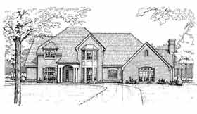 Colonial, European, French Country House Plan 92263 with 4 Beds, 4 Baths, 3 Car Garage Elevation