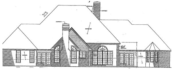 European House Plan 92265 Rear Elevation
