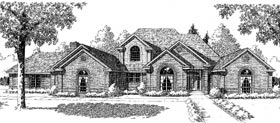 European, French Country, Traditional House Plan 92272 with 3 Beds, 4 Baths, 3 Car Garage Elevation