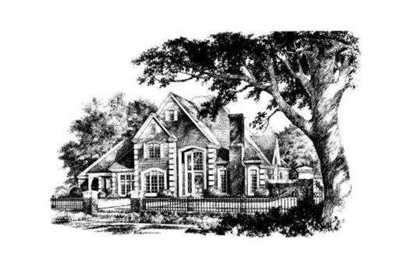 Country, French Country, Traditional House Plan 92274 with 4 Beds, 4 Baths, 3 Car Garage Elevation