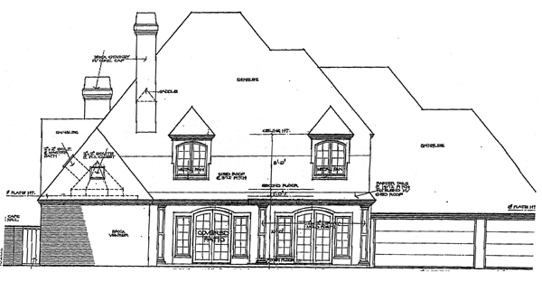 Country, French Country, Traditional House Plan 92274 with 4 Beds, 4 Baths, 3 Car Garage Rear Elevation