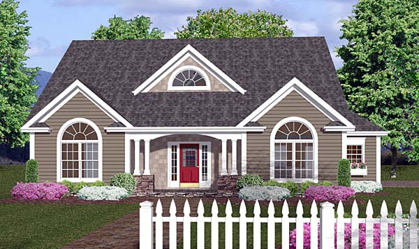 country traditional house plan 92373 elevation