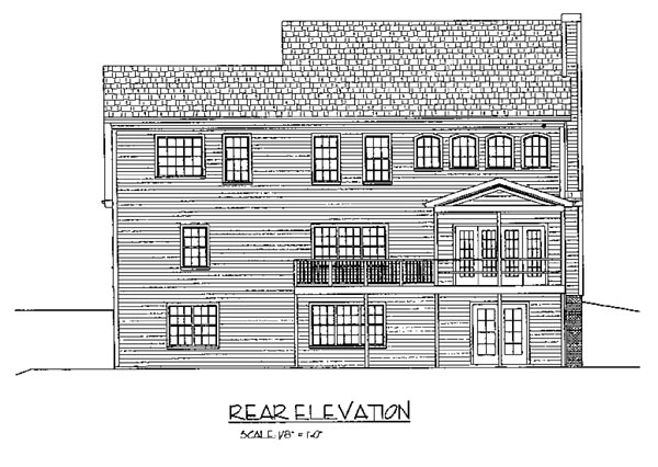 Colonial House Plan 92374 Rear Elevation