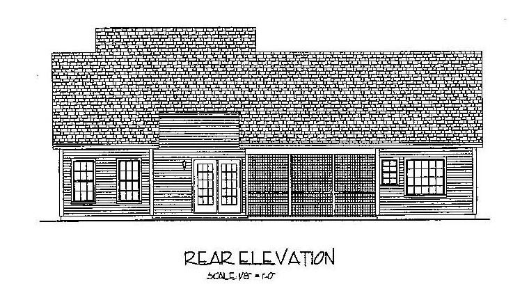 Country European Traditional Rear Elevation of Plan 92377