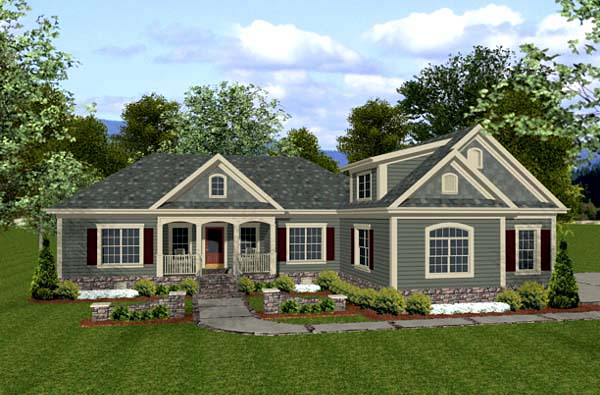 country craftsman house plan 92385 elevation - Craftsman House Plans