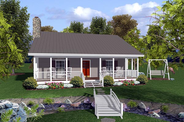 Cabin Ranch Traditional House Plan 92388 Elevation
