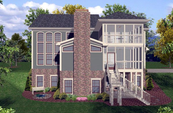 Craftsman Traditional House Plan 92390 Rear Elevation
