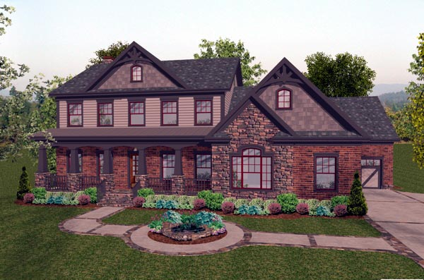 Craftsman House Plan 92391 with 4 Beds, 5 Baths, 3 Car Garage Elevation