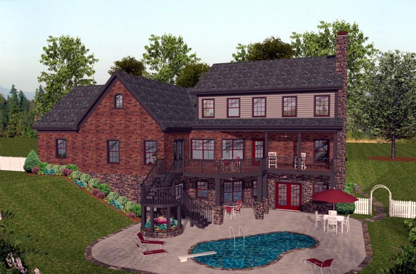 Craftsman House Plan 92391 with 4 Beds, 5 Baths, 3 Car Garage Rear Elevation