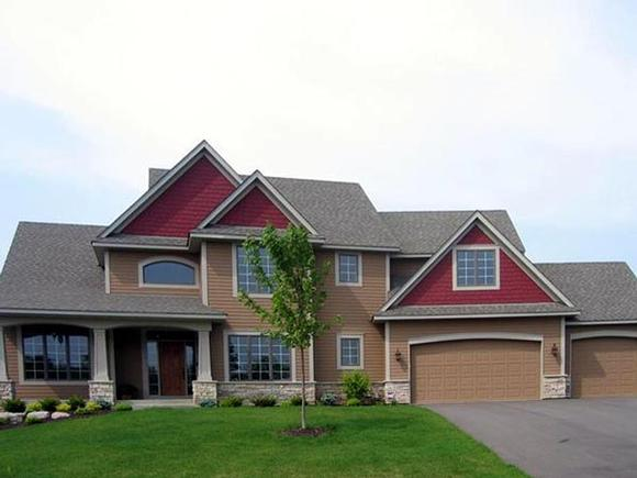 Craftsman House Plan 92393 with 4 Beds, 4 Baths, 3 Car Garage Elevation