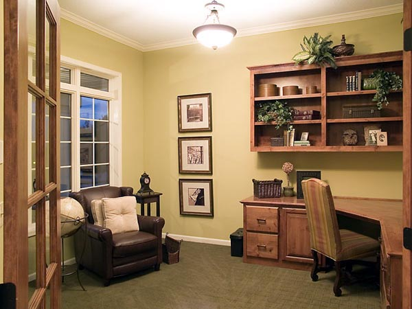 The comfortable study features a built-in work area.