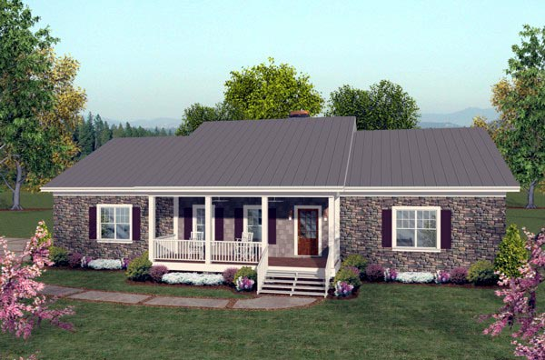 Ranch Style House Plan 92395 with 2 Bed, 3 Bath, 3 Car Garage on