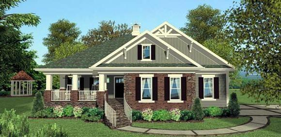 Cottage, Craftsman, Southern House Plan 92397 with 3 Beds, 4 Baths, 2 Car Garage Elevation