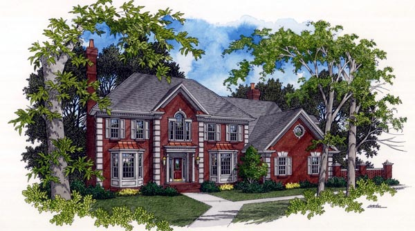 Colonial European House Plan 92412 Elevation