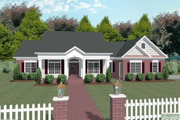 Colonial Country House Plan 92443 Elevation