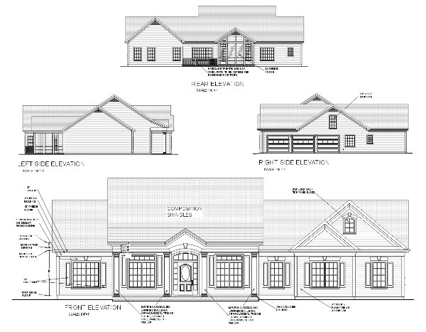 Rear Elevation of Country   House Plan 92444
