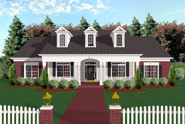 Cape Cod Country Farmhouse Ranch House Plan 92446 Elevation