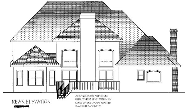 European Tudor House Plan 92452 Rear Elevation