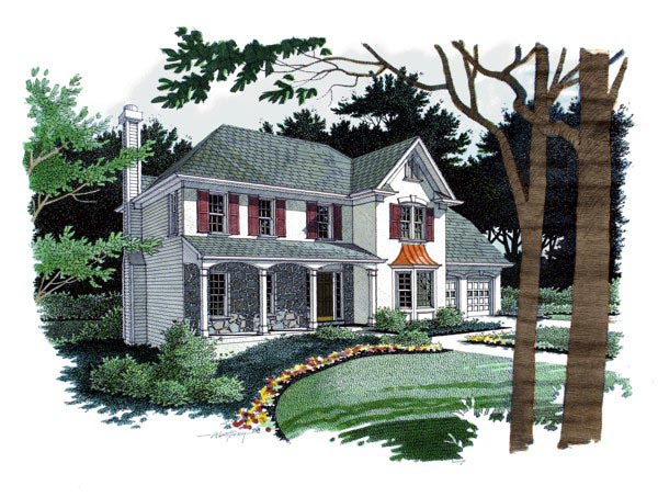 Colonial, Southern House Plan 92470 with 4 Beds, 3 Baths, 2 Car Garage Elevation