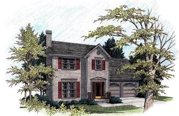 Colonial House Plan 92485 with 4 Beds, 3 Baths, 2 Car Garage Elevation