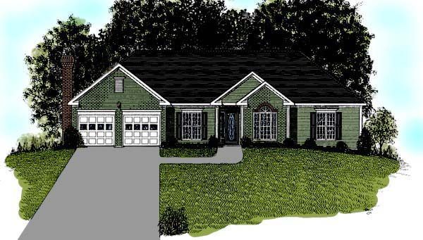 Traditional House Plan 92496 with 4 Beds, 2 Baths, 2 Car Garage Elevation