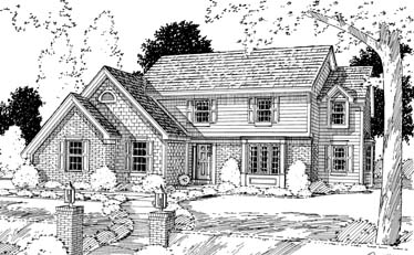 Colonial Country House Plan 92618 Elevation
