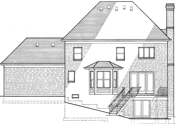 Colonial European House Plan 92623 Rear Elevation