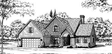 Bungalow, European House Plan 92629 with 4 Beds, 3 Baths, 2 Car Garage Elevation