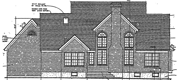 Cape Cod , Country , Southern House Plan 92653 with 3 Beds, 3 Baths, 2 Car Garage Rear Elevation