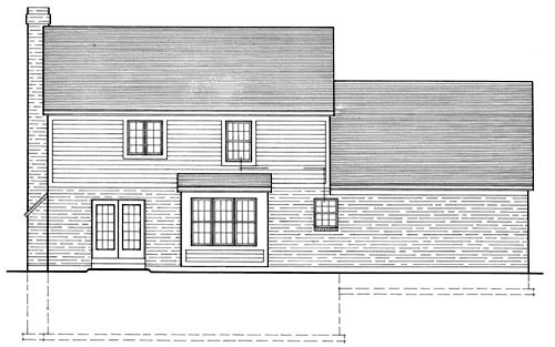 Bungalow, Country, Farmhouse House Plan 92686 with 3 Beds, 3 Baths, 2 Car Garage Rear Elevation