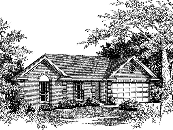One-Story, Ranch House Plan 93017 with 3 Beds, 2 Baths, 2 Car Garage Elevation