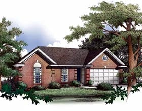 Ranch House Plan 93019 with 3 Beds, 2 Baths, 2 Car Garage Elevation