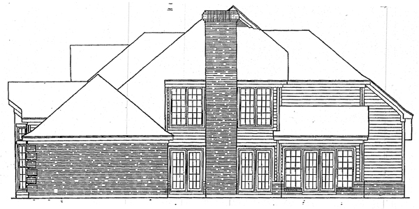 European House Plan 93034 Rear Elevation