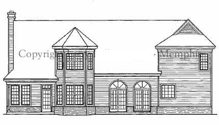 Country, Farmhouse House Plan 93057 with 4 Beds, 3 Baths, 2 Car Garage Rear Elevation