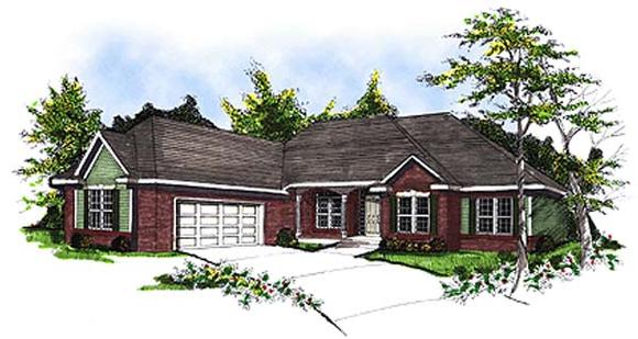 European, One-Story, Ranch House Plan 93102 with 3 Beds, 3 Baths, 2 Car Garage Elevation