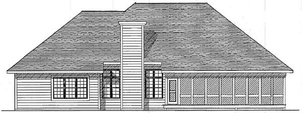 One-Story, Traditional House Plan 93103 with 3 Beds, 2 Baths, 3 Car Garage Rear Elevation