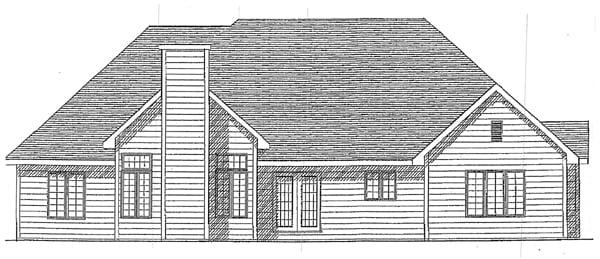 European House Plan 93108 Rear Elevation