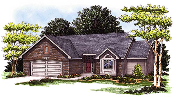 One-Story, Ranch House Plan 93120 with 3 Beds, 3 Baths, 2 Car Garage Elevation