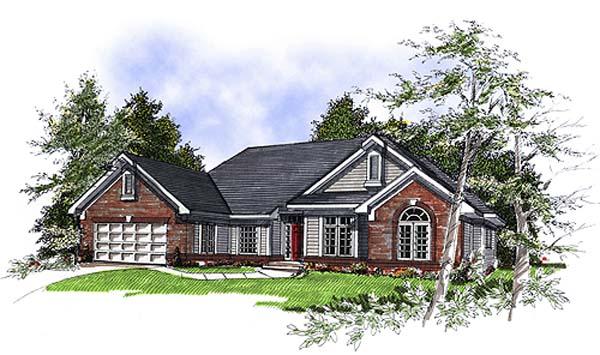 European House Plan 93135 Elevation