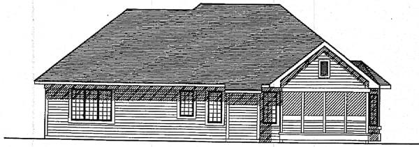 European House Plan 93139 Rear Elevation