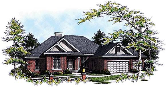 European House Plan 93172 with 3 Beds, 2 Baths, 3 Car Garage Elevation