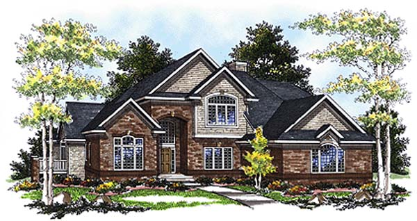 Bungalow, European House Plan 93173 with 3 Beds, 3 Baths, 3 Car Garage Elevation
